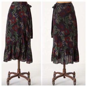 Maple Anthropologie Floral Midi Wrap Skirt XS